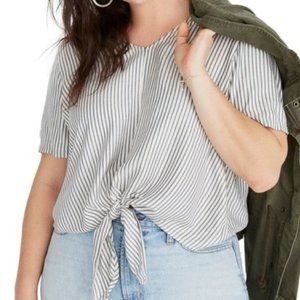 Madewell Striped Tie Front Top Blue Moon Alby